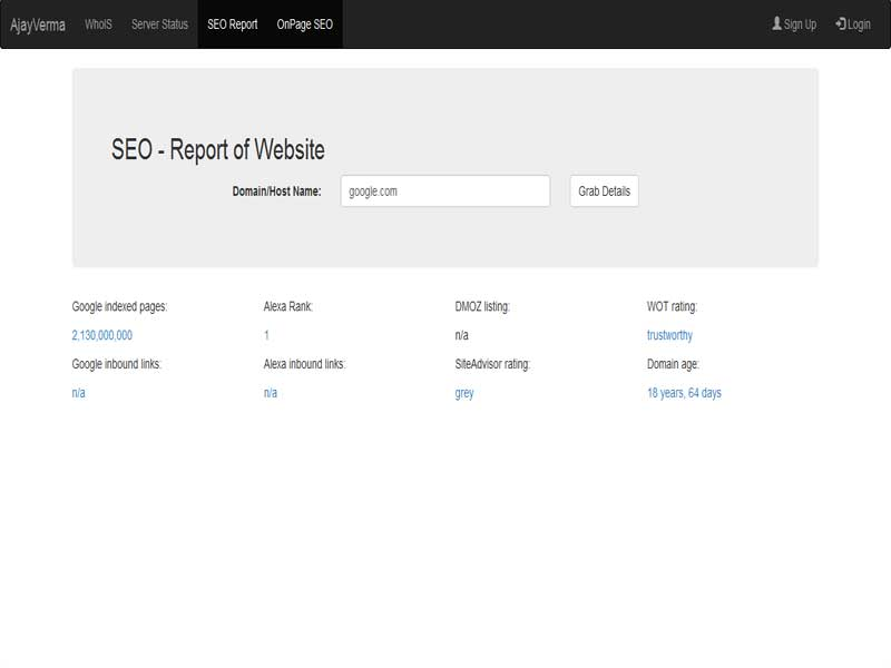 SEO - Report of Website