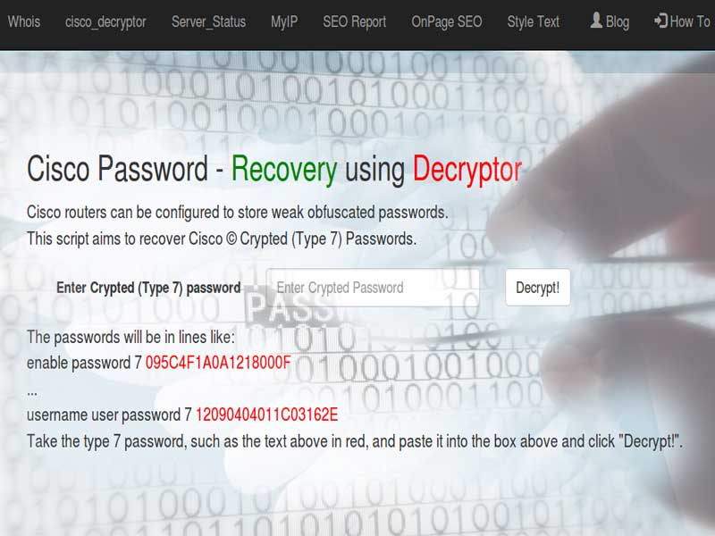 Cisco Password - Decryptor